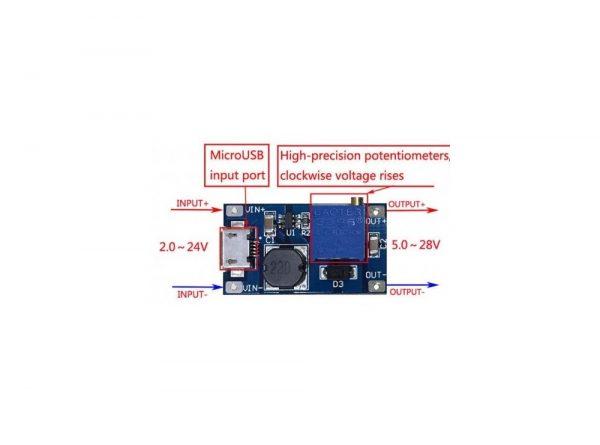 رگولاتور dc dc افزاینده 2 آمپر با ورودی میکرو usb 2 ارکید استور