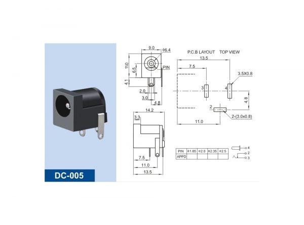 آداپتوری مادگی مشکی استاندارد dc 005 قطر پین 20mm 1 ارکید استور