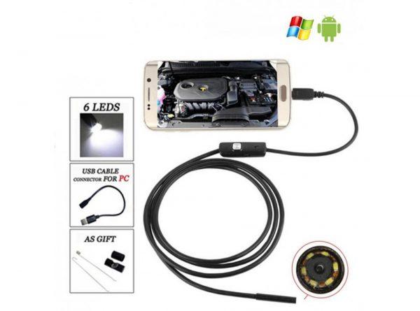 آندوسکوپ 13 مگاپیکسل لنز 7mm کابل 1 متر ارتباط usb سازگار با ویندوز و اندروید 10 ارکید استور