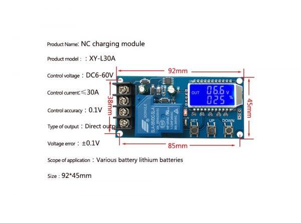 کنترل شارژ باتری دیجیتال 6 الی 60 ولت مدل xy l30a 3 ارکید استور