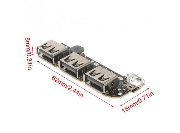 پاوربانک سه خروجی usb به همراه برد 5 باتری 5 ارکید استور