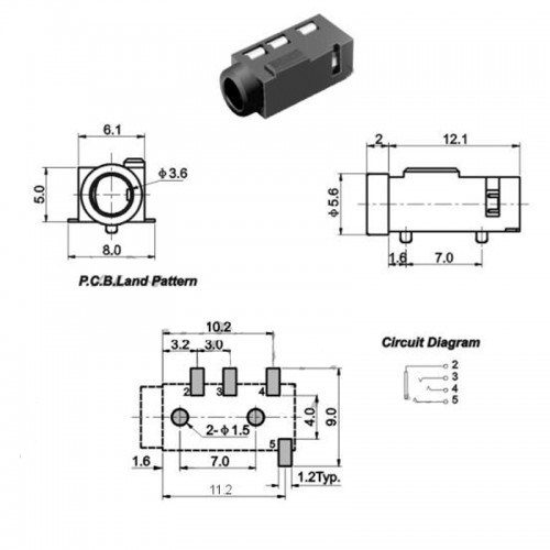 PJ 320D 4 Pins SMD 3 5 mm Female Headphone Jack 770 6 500x500 1 ارکید استور