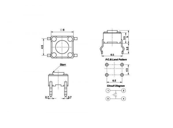 سوئیچ 6x6x6mm 1 ارکید استور