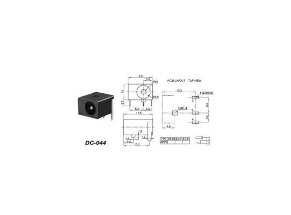 آداپتور مدل dc 044 قطر پین 2mm 3 ارکید استور
