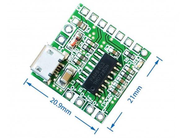 آمپلی فایر 2x3w کلاس d تراشه pam8403 با ورودی micro usb 2 ارکید استور