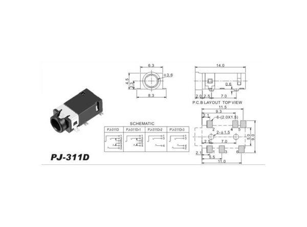 هدفن 35mm 6pin مدل pj311d smd 1 ارکید استور